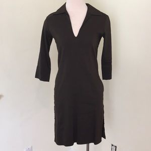 Theory Linen Blend Dress with Side Slits at Thigh